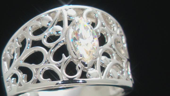 Fabulite Strontium Titanate rhodium over sterling silver ring .60ct.