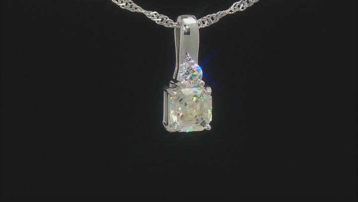 Fabulite Strontium Titanate rhodium over sterling silver pendant 2.75ctw.