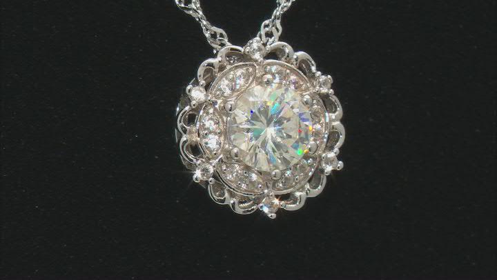 Fabulite Strontium Titanate and white zircon rhodium over sterling silver pendant 1.33ctw.