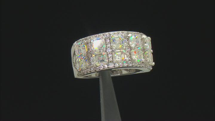 Fabulite strontium titanate and white zircon rhodium over sterling silver ring 4.68ctw