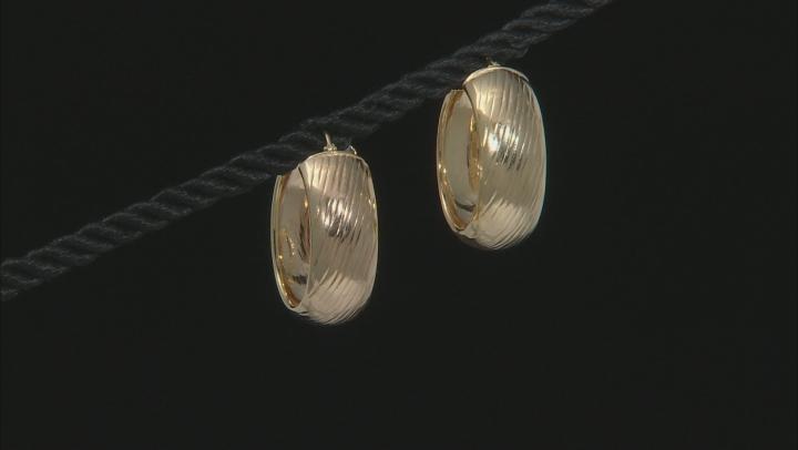 18k Yellow Gold Over Sterling Silver Diamond Cut Hoop Earrings 10mm