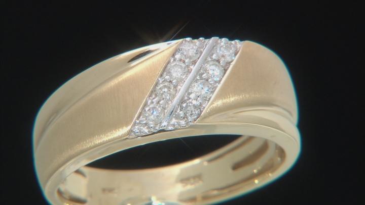 White Diamond 10K Yellow Gold Mens Ring .25ctw