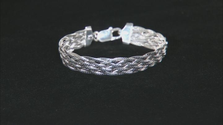 Sterling Silver Braided Herringbone Link Bracelet 7.5 inch