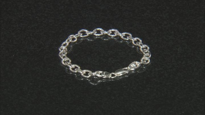 Sterling Silver Elongaited Cable Link Bracelet 8 Inch