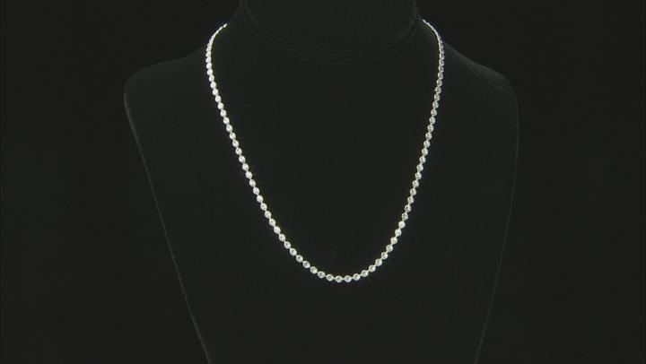 Sterling Silver Designer Diamond Cut Bead Chain Necklace 18 Inch