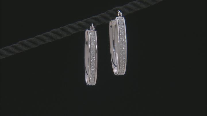 Rhodium Over Sterling Silver 15MM Glitter Pattern Oval Hoop Earrings