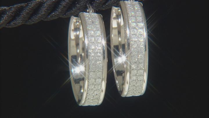 Rhodium Over Sterling Silver 21 MM Glitter Pattern Hoop Earrings