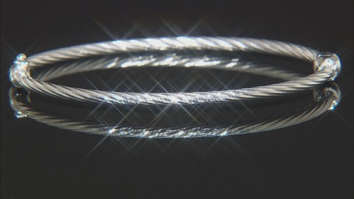 Sterling Silver Diamond Cut Hinged Bangle Bracelet 7.5 Inch