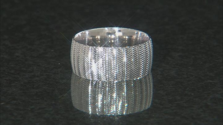 Sterling Silver Diamond Cut Ridged Band Ring