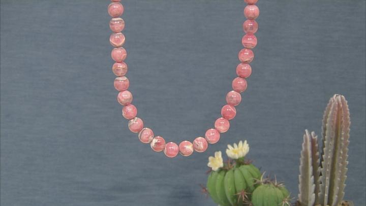 Pink Rhodochrosite Silver Necklace