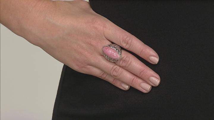 Pink Rhodochrosite Rhodium Over Sterling Silver Butterfly Ring
