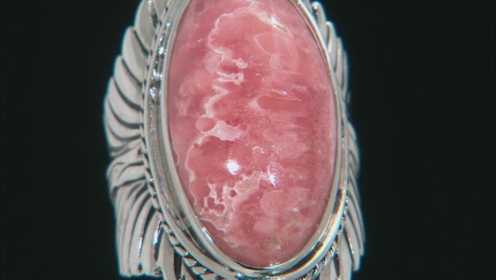 Pink Rhodochrosite Silver Feather Ring