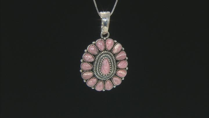 Pink Rhodochrosite Sterling Silver Enhancer With Chain