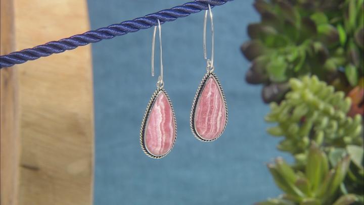 Pink Rhodochrosite Sterling Silver Earrings