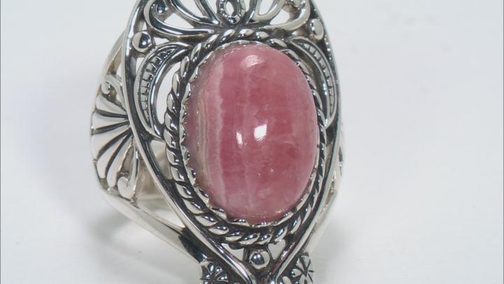 Pink Rhodochrosite Silver Ring