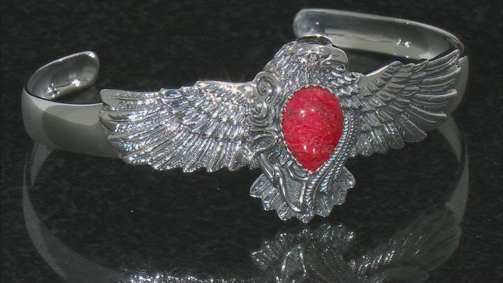 Red Sponge Coral Eagle Cuff Bracelet
