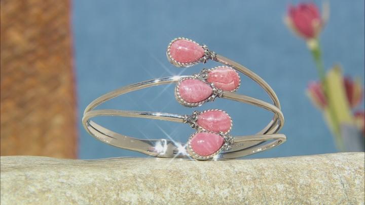 Pink rhodochrosite rhodium over sterling silver bracelet