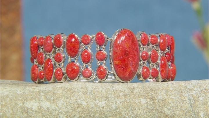 Red Indonesian sponge coral sterling silver bracelet