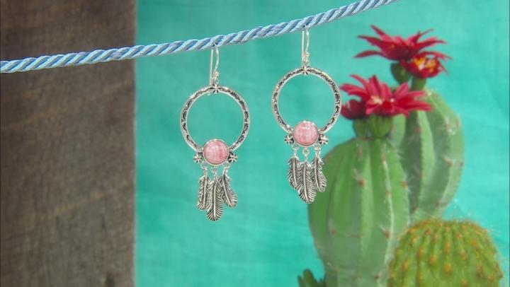 Pink Rhodochrosite Sterling Silver Feather Earrings