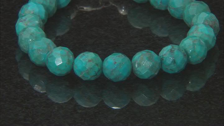 Turquoise bead strand, silver bracelet