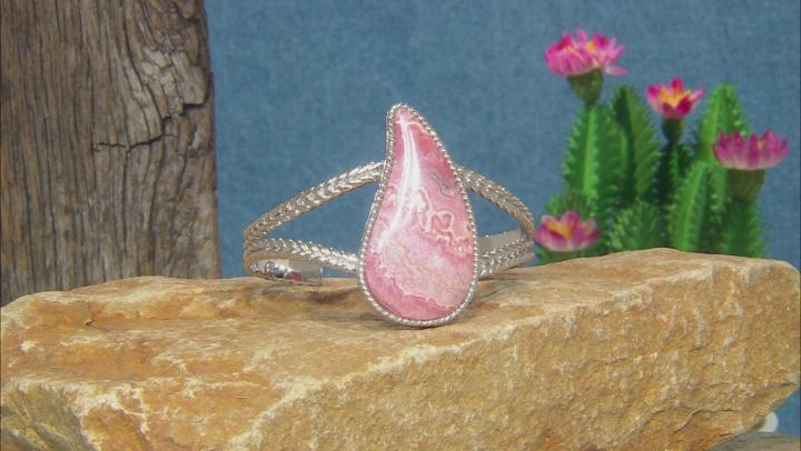Pink Rhodochrosite Rhodium Over Silver Bracelet