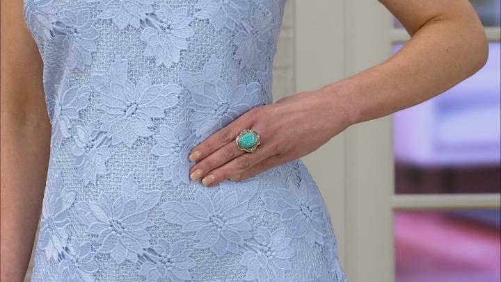 Turquoise Kingman Rose Rhodium Over Silver Ring