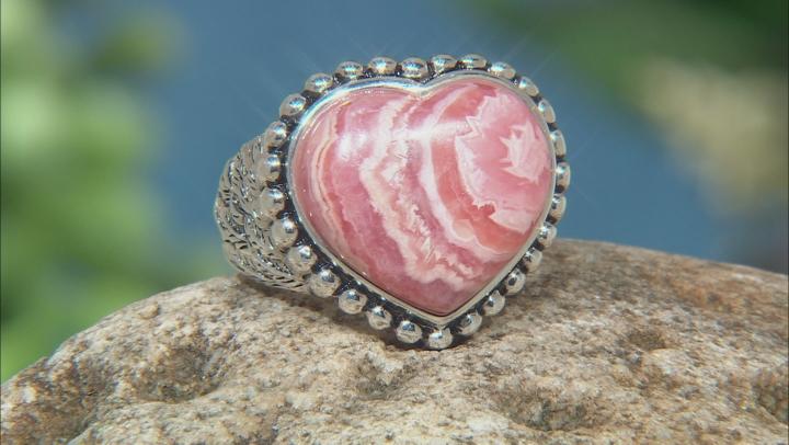 Rhodochrosite Silver Heart Ring