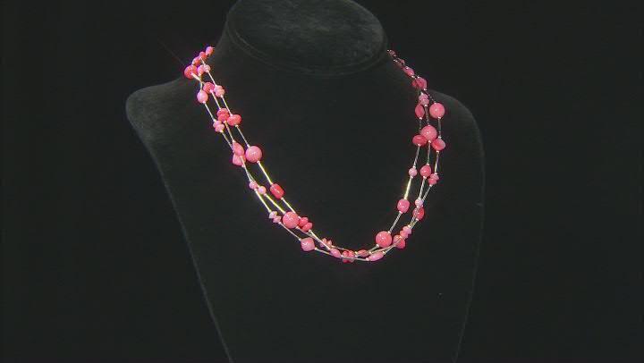 Peach Coral Liquid Silver Necklace