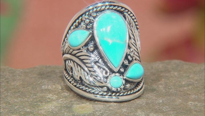 Kingman Turquoise Rhodium Over Silver Ring