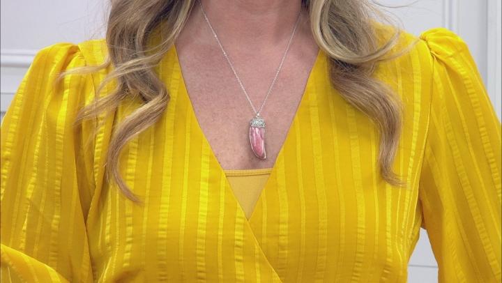 Pink Rhodochrosite Rhodium Over Silver Pendant With Chain.