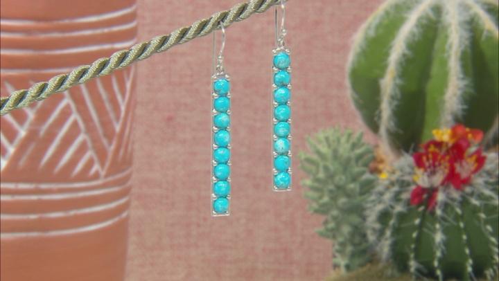 Kingman Turquoise Rhodium Over Silver Bar Earrings