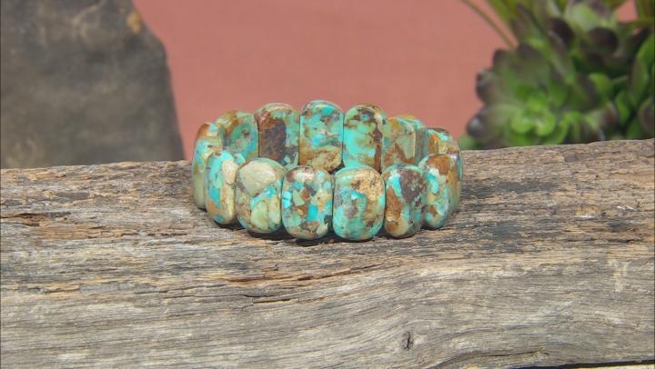 Multi Color Turquoise With Matrix 2 Stretch Bracelets Set