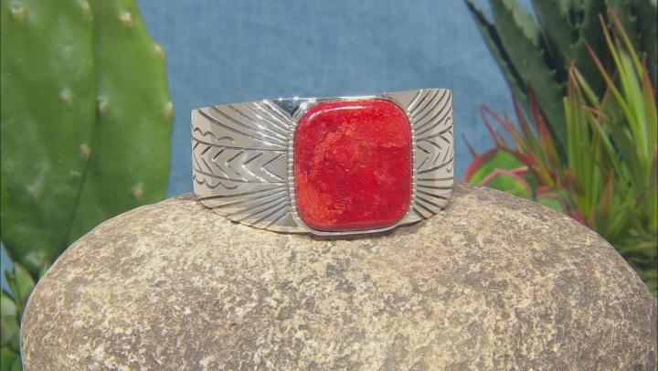Red Sponge Coral Silver Cuff Bracelet