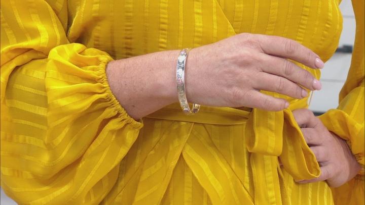 Pink Rhodochrosite Silver Bangle Bracelet