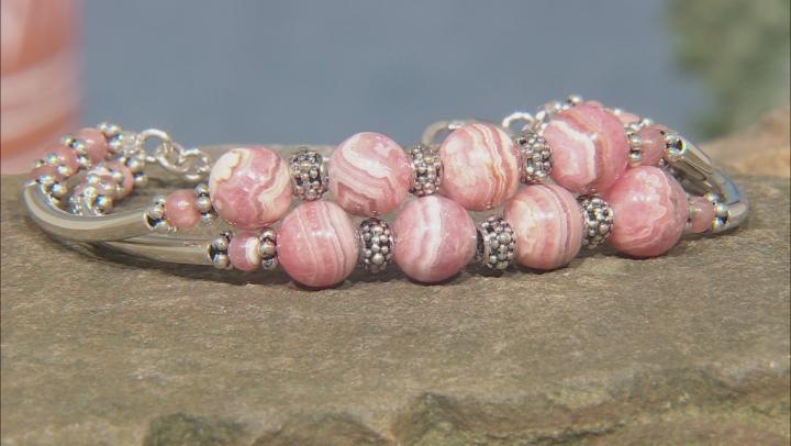 Rhodochrosite Rhodium Over Silver Bead Bracelet