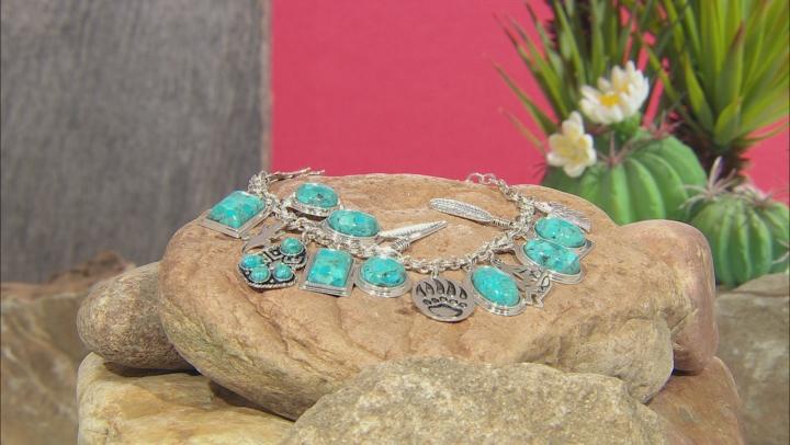 Turquoise Rhodium Over Silver Charm Bracelet