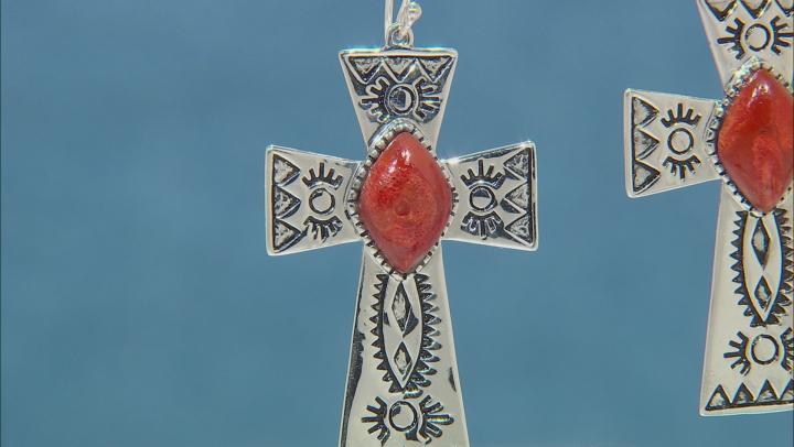 Red Sponge Coral Rhodium Over Silver Cross Earrings