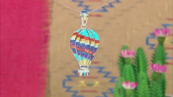 Multi-Gem Silver Hot Air Balloon Pendant