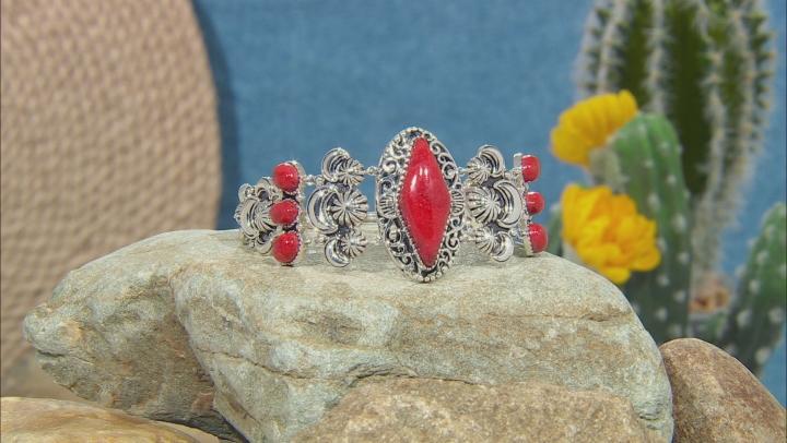 Red Sponge Coral Rhodium Over Silver Bracelet