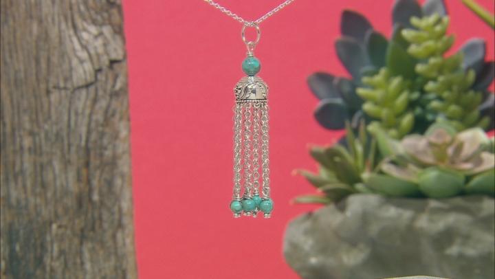 Turquoise Bead Rhodium Over Silver 10-Chain Tassel Pendant W/Chain
