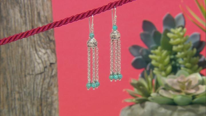 Turquoise Bead Rhodium Over Silver 5-Chain Tassel Earrings