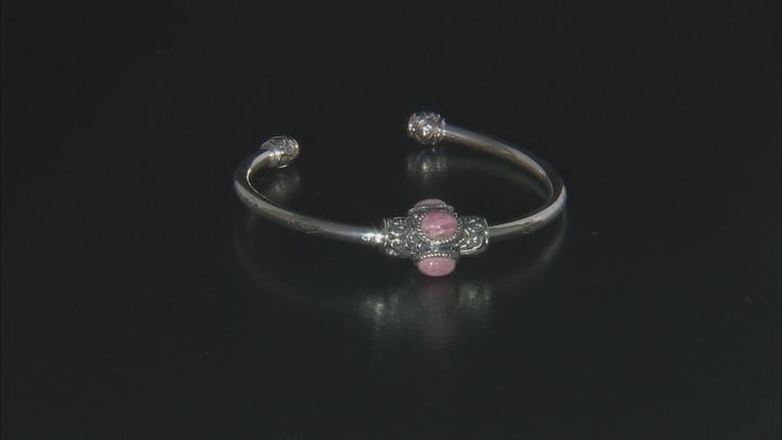 Rhodochrosite Rhodium Over Silver Bracelet W/ Changeable Turquoise Charm