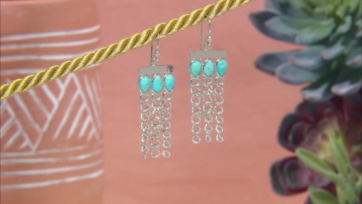 Turquoise Rhodium Over Sterling Silver Tassel Earrings