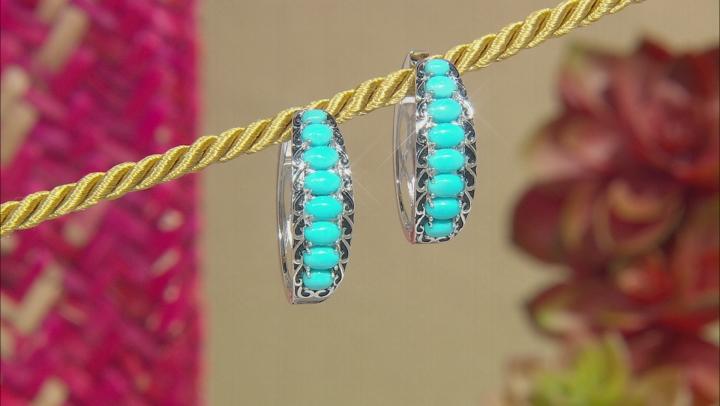 Sleeping Beauty Turquoise Rhodium Over Silver Hoop Earrings