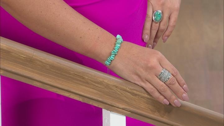 Kingman Turquoise Rhodium Over Silver Bolo Bracelet