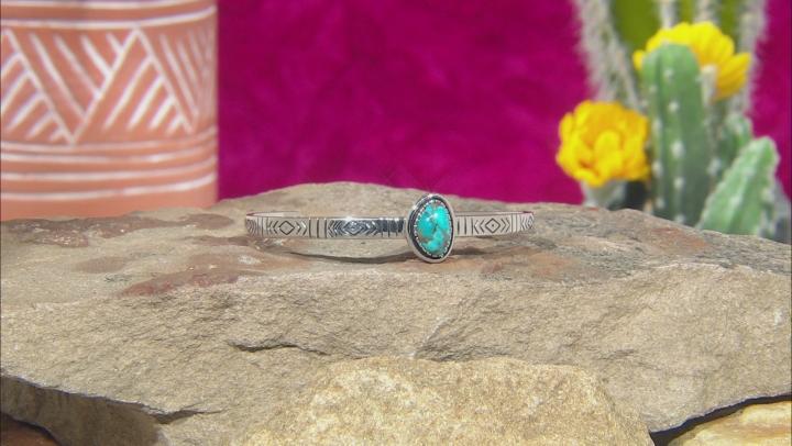 Kingman Turquoise Rhodium Over Sterling Silver Bracelets. Set Of 3