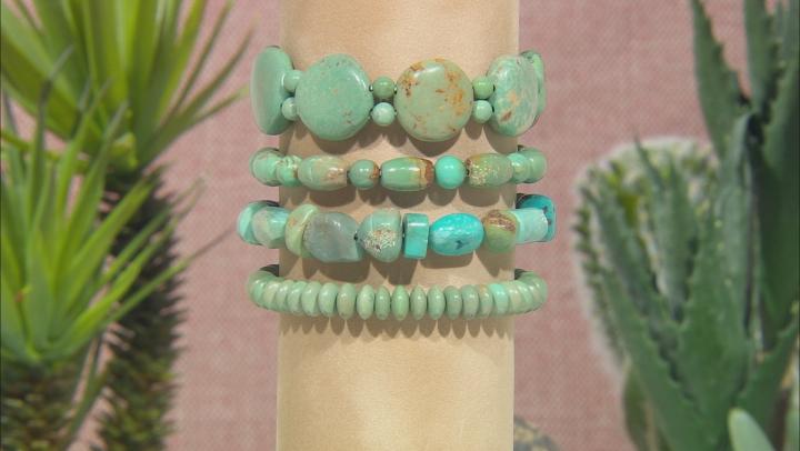 Green Turquoise Stretch Bracelets. Set Of 4