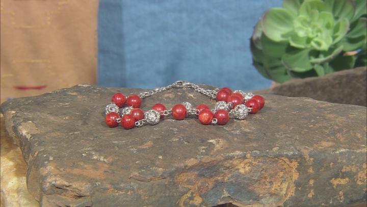 Red Sponge Coral Rhodium Over Silver Bead Bracelet