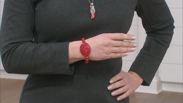 Red Sponge Coral Bead Stretch Bracelet