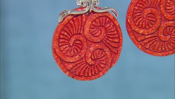 Red Sponge Coral Slice Rhodium Over Silver Earrings